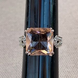 Simulated pink diamond and sterling statement ring